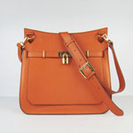 Hermes Jypsiere Fjord Leather Messenger Bag Orange H6508
