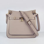 Hermes Jypsiere Fjord Leather Messenger Bag Grey H6508