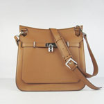 Hermes Jypsiere Fjord Leather Messenger Bag Light Coffee H6508