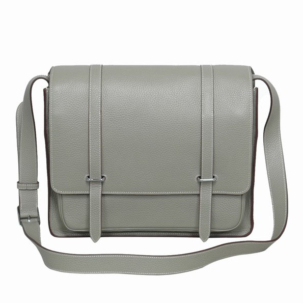 Hermes Jypsiere Togo Leather Messenger Bag Dark Gray 92111