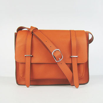 Hermes Jypsiere Togo Leather Messenger Bag  Orange H2810