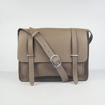 Hermes Jypsiere Togo Leather Messenger Bag  Gray H2810
