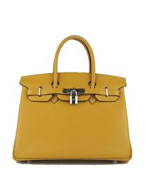 Hermes Birkin 30cm Togo leather Handbags yellow silver 6088