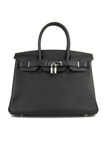 Hermes Birkin 30cm Togo leather Handbags black silver 6088