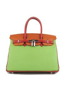 Hermes Birkin 30cm Togo leather Handbags red/orange/green silver 6088