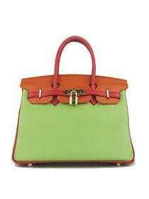Hermes Birkin 30cm Togo leather Handbags red/orange/green golden 6088