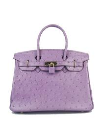 Hermes Birkin 30cm Ostrich vein Handbags dark purple golden 6088