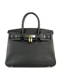 Hermes Birkin 30cm Togo leather Handbags black golden 6088