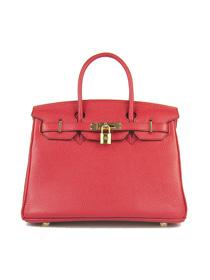 Hermes Birkin 30cm Togo leather Handbags red golden 6088