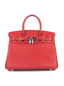 Hermes Birkin 30cm Togo leather Handbags red silver 6088