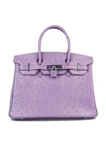 Hermes Birkin 30cm Ostrich vein Handbags dark purple silver 6088