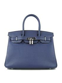 Hermes Birkin 30cm Togo leather Handbags dark blue silve 6088