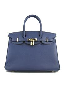 Hermes Birkin 30cm Togo leather Handbags dark blue golden 6088