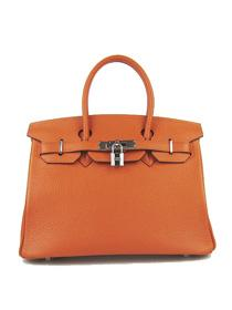 Hermes Birkin 30cm Togo leather Handbags orange silver 6088
