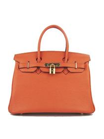 Hermes Birkin 30cm Togo leather Handbags orange Gold 6088