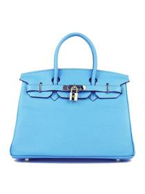 Hermes Birkin 30cm Togo leather Handbags light blue golde 6088