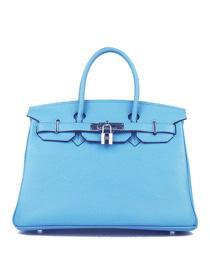 Hermes Birkin 30cm Togo leather Handbags light blue  Silver 6088