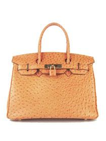 Hermes Birkin 30cm Ostrich vein Handbags orange Gold 6088