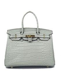 Hermes Birkin 30cm Crocodile vein Handbags silver grey Gold 6088