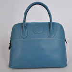 Hermes Bolide Togo Leather Tote Bag 1037 Blue