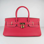 HERMES 6109 Gold Hardware red Cow Hide Leather bag