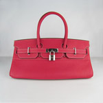 HERMES 6109 Silver Hardware red Cow Hide Leather bag