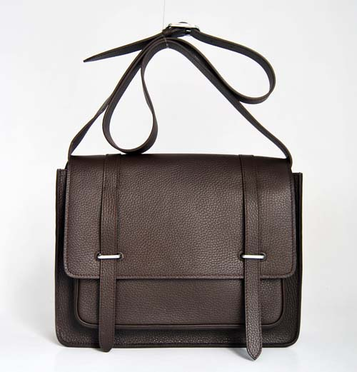Hermes Jypsiere Togo Leather Messenger Bag Dark Coffee 92111
