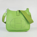 Hermes togo leather evelyne bag with outside pocket green 6309