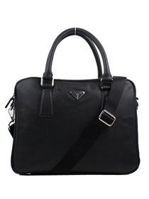 Prada Leather Weekender Top Handle Bag 0791 black