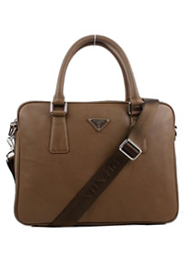 Prada Leather Weekender Top Handle Bag 0791 brown