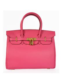 Hermes Birkin H30 Crocodile patent leather bag gold peach red