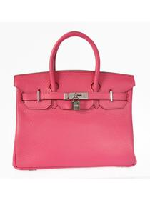 Hermes Birkin H30 Crocodile patent leather bag silver peach red