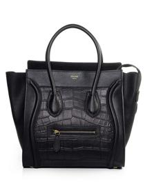 2012 Celine Boston smile Tote original leather crocodile handbag 3308 black