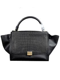 2012 Celine trapeze tote Bag in suede crocodile pattern 88037 black