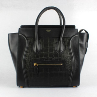 Hot 2013 celine luggge tote handbag crocodile pattern 88022 black