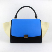 2013 Celine trapeze tote calfskin leather bag 88037 black&white&blue