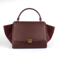 2013 Celine trapeze tote calfskin bag in suede 88037 jujube red