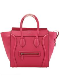 Celine luggage tote boston handbag in suede 98169 fluorescence rose