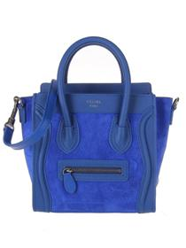 2012 Celine mini boston smile tote handbag nubuck leather 98168 blue