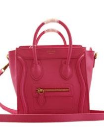 2013 Celine nano luggage tote smooth calfskin handbag 98168 rose red