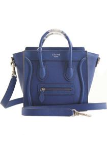 2013 Celine nano luggage tote smooth calfskin handbag 98168 blue