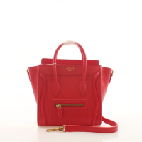 2013 Celine nano luggage tote smooth calfskin handbag 98168 big red