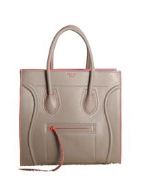2013 Celine Luggage Phantom Square original leather Bag 3341 khaki&orange