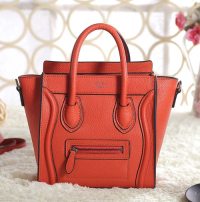 2013 Celine nano luggage tote bag original leather 3309 fluorescent orange