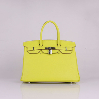 2013 Hermes birkin 30CM 6088 lemon yellow silver hardware