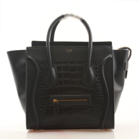 2013 Celine mini luggage tote crocodile handbag 98169 black