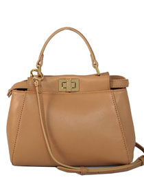 2013 Fendi Mini Peekaboo Tote Original Sheepskin handbag 3509 apricot