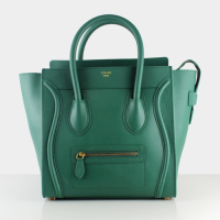 2013 celine mini luggge tote handbag 88022 blackish green