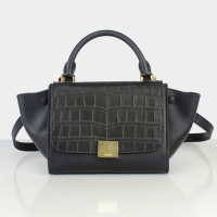 2013 celine trapeze tote crocodile bag small size 88038 black