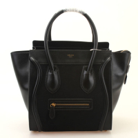 2013 Celine mini boston smile tote handbag with suede leather 98169 black